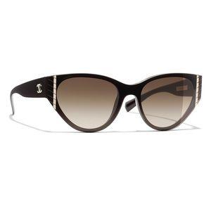 NWT Chanel Cat Eye CC 6054 Brown Sunglasses